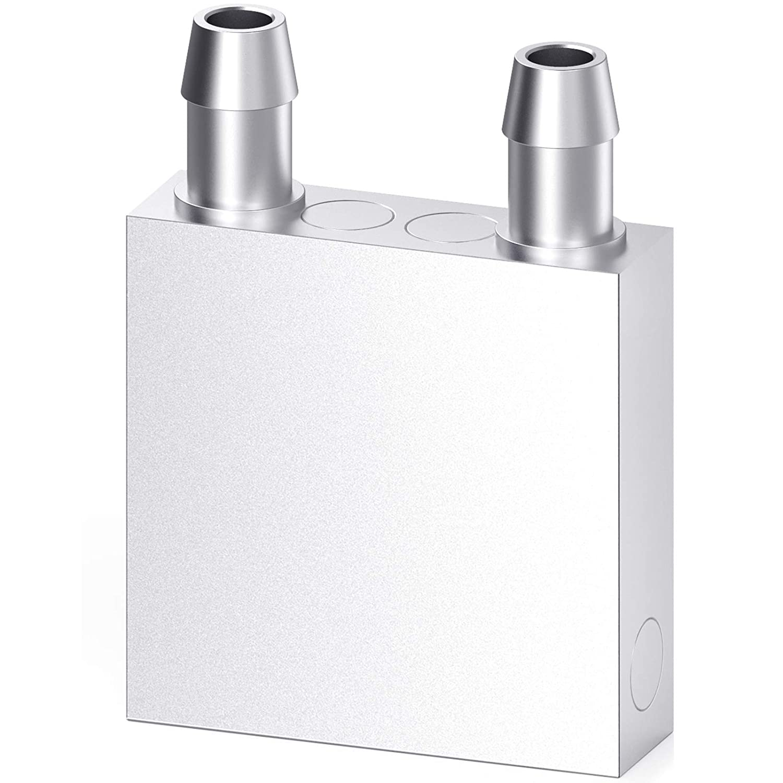 DIYhz Aluminum Water Cooling Block, Liquid Water Cooler Heat Sink System for PC Computer CPU Graphics Radiator Heatsink Endothermic Head Silver(40mm x 40mm x 12mm)