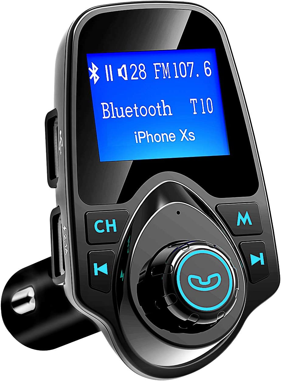 VicTsing Bluetooth FM Transmitter for Car, Wireless Radio Transmitter Adapter with Power Off Function, Hands-Free Car Kit Charger, 1.44'' LCD Diaplay, Music Player, 2 USB Ports, AUX In/Out, TF Card