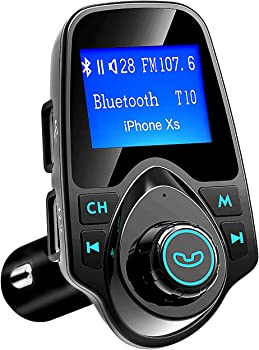 Bluetooth FM Transmitter, 1.44-Incl Large LCD Screen, for Car, AUX In Out Hands-Free Music Player Bluetooth Car Adapters