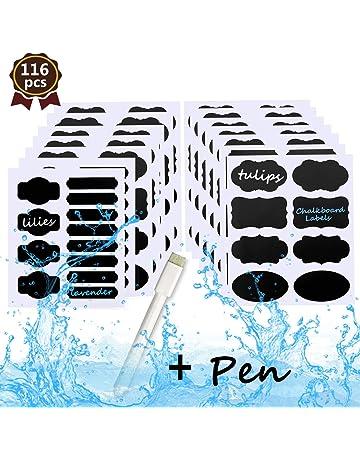 Pizarra etiquetas - Bystep 116 pcs extraíble pizarra etiquetas con marcador de tiza tinta borrable Premium