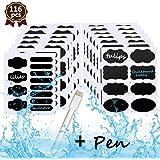 WisFox Etichette lavagna - Bystep 116 pz rimovibile etichette lavagna con adesivi riutilizzabili adesivo lavagna cancellabile pennarello a gesso Premium perfetto per barattoli e contenitori