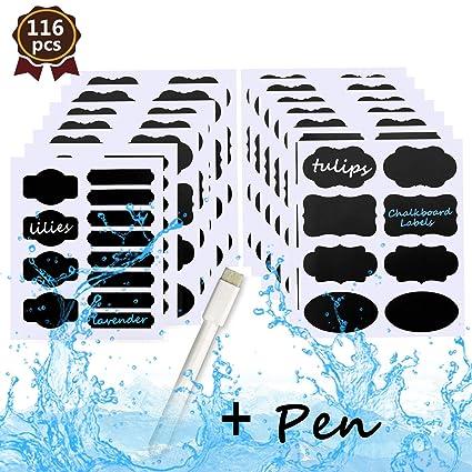 Pizarra etiquetas - Bystep 116 pcs extraíble pizarra etiquetas con marcador de tiza tinta borrable Premium reutilizable adhesivo Pizarra Pegatinas ...