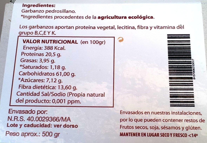 EcoSpain Garbanzos Ecológicos Pedrosillano - 500 gr: Amazon.es: Alimentación y bebidas