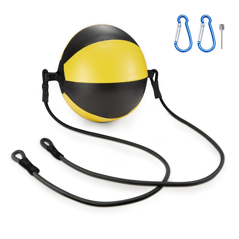 KUYOU Boxing Double End Speed Ball,Leather Boxing Ball Speed Training Ball Double-end Bags Include 2pcs Ring Locking for Training Gym Exercise Agility - Yellow + Black