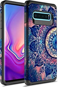Samsung Galaxy S10 Case, Rosebono Slim Hybrid Dual Layer Shockproof Hard Cover Graphic Fashion Cute Colorful Silicone Skin Cover Armor Case for Samsung Galaxy S10 (Mandala)
