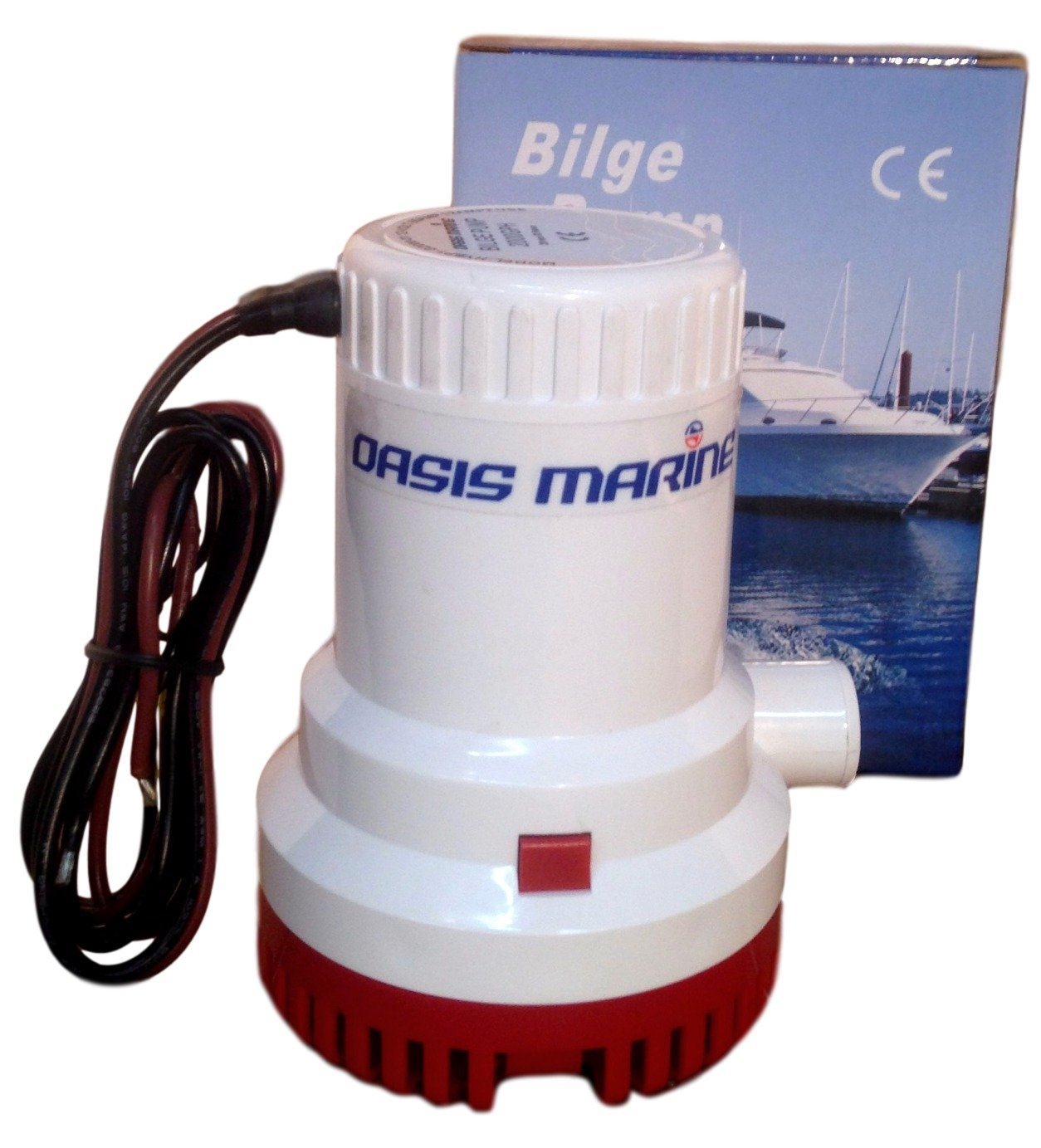 Oasis Marine 2000 GPH 12v submersible Boat Marine Plumbing Electric Bilge Pump 1 1/8 outlet.-Float Switch and 3 Marine heat shrink wire connectors included
