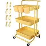 Piowio 3 Tier Utility Rolling Cart Multifunction Organizer Shelf Storage Cart with 3 Piece Cups and 8 Piece Hooks for Home Ki