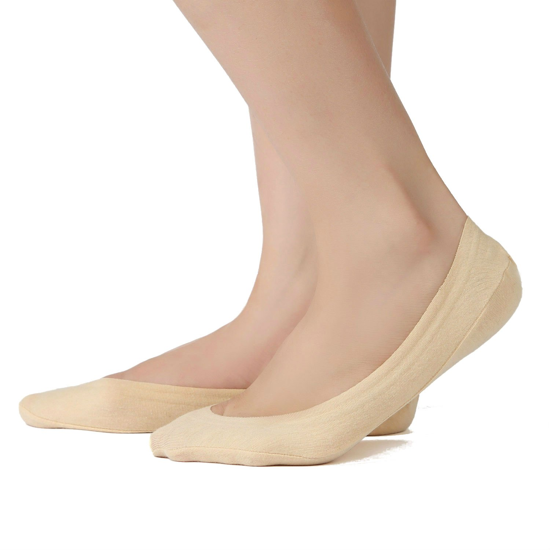 Shoe-Size 5-8, 2Black+2Nude 4 Pairs Womens Premium Cotton Liner Non Slip No Show Socks