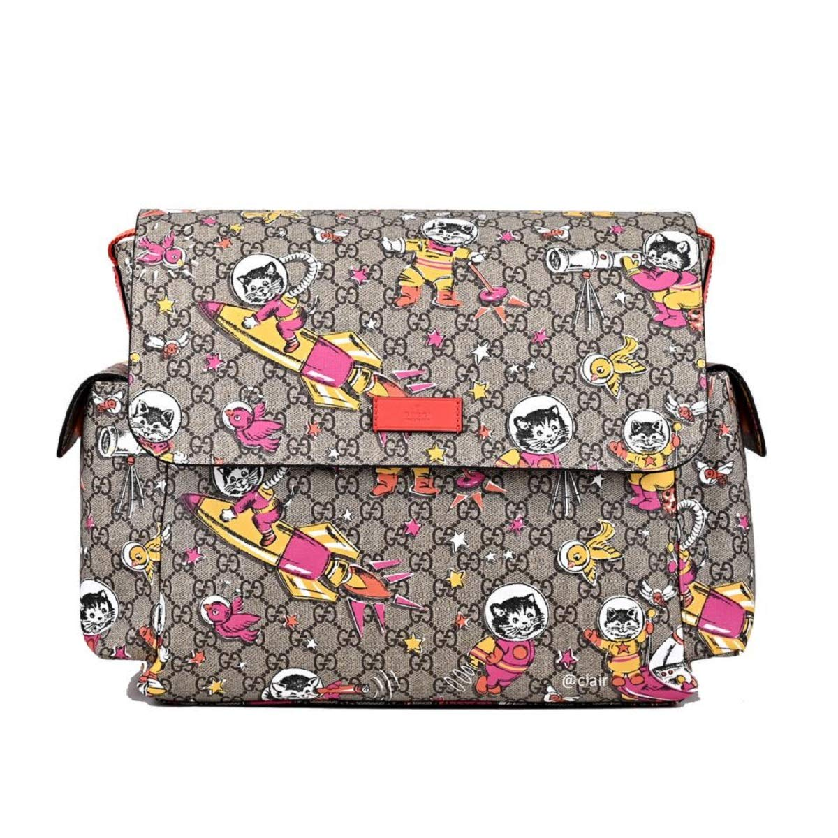 d20ad2d48a01 Amazon.com: Gucci Space Cats Cat GG Canvas Diaper Bag Baby Beige Multicolor  Orange Italy New: Shoes