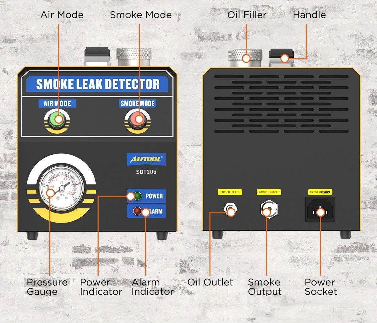 AUTOOL SDT205 Smoke Leak Detector 2 Mode Automotive Fuel Leakage Diagnostic Tester,Conduit Pipe System Leakage Tester,EVAP Leak Detector for 12V Vehicles