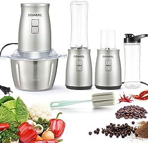 SIDAKRE Electric Food Processor 5 in 1 Electric Food chopper 2L Stainless Steel Bowl