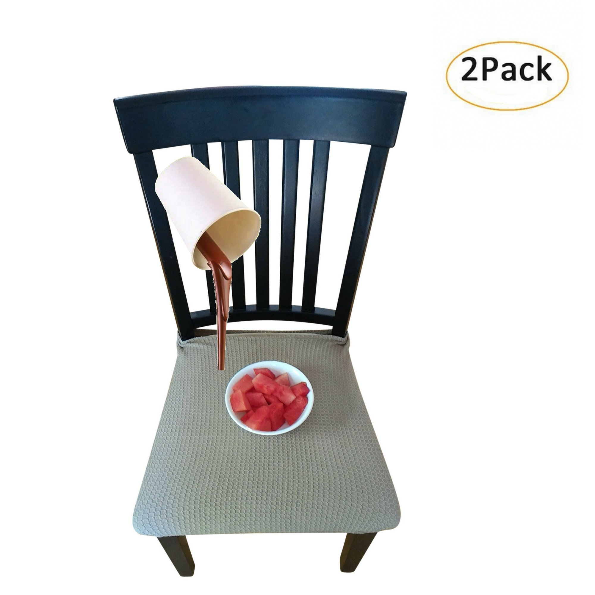 Waterproof Dining Chair Cover Protector - Pack of 2 - Perfect For Pets, Kids, Elderly, Restaurants, Party - Machine Washable, Elastic, Removable, Premium Quality, Clean the Mess Easily (Medium Brown) by RELIABEST