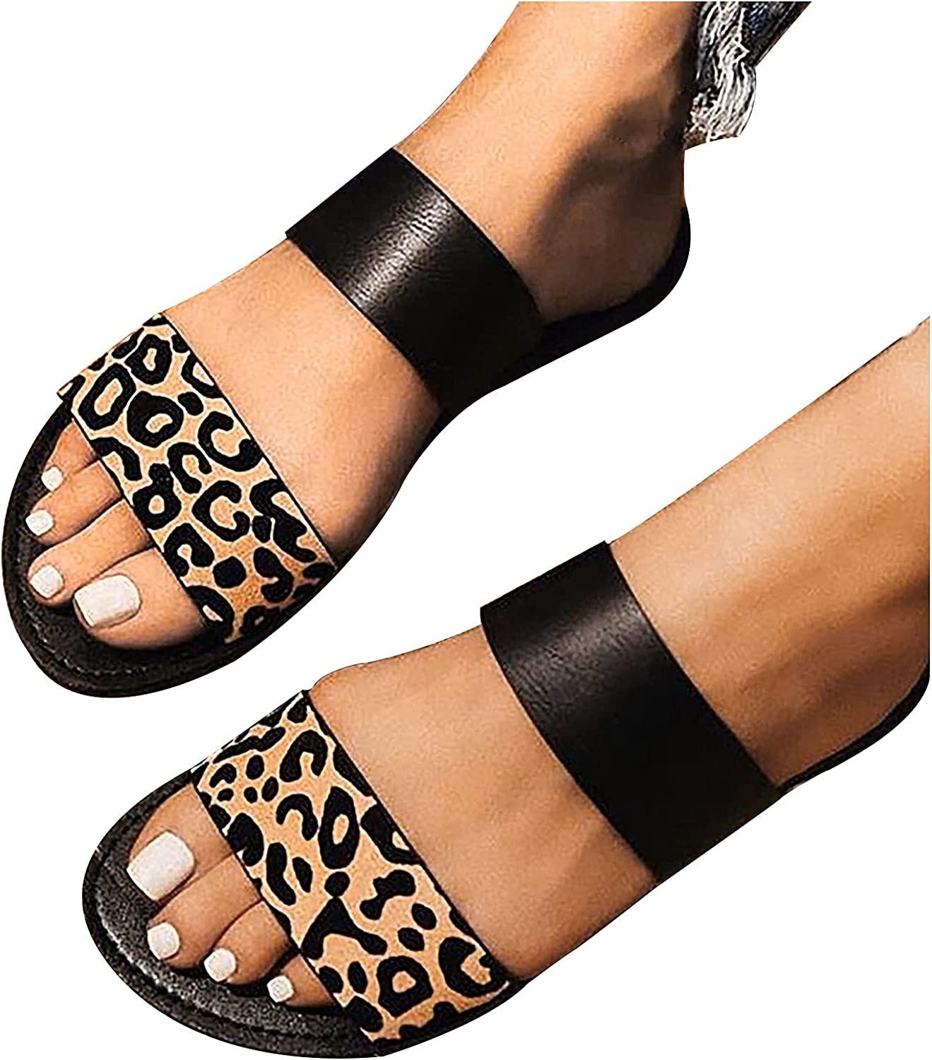 Summer Women Flat Strappy Sandals Ladies Leopard Party Slip On Slippers Size 3-6