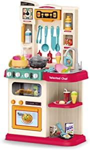 Naladoo Kids Kitchen Playset,Play Kitchen Toy with Realistic Lights & Sounds,Pretend Steam,Play Sink & Oven, Non-Toxic Play Food, Other Kitchen Accessories Set for Toddlers, Girls & Boys