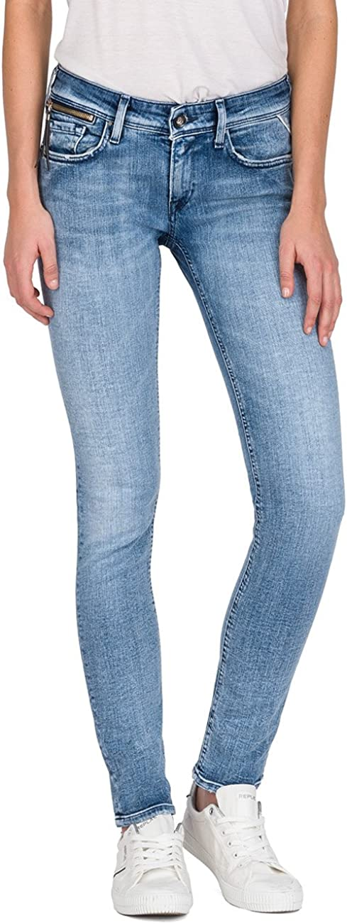 TALLA 25W / 30L. Replay Luz Coin Zip, Jeans Mujer