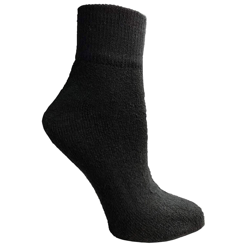 Physicians Approved Men's/Women's Extended Diabetics Quarter Ankle Socks Cotton - 10-13 - Black - 240 Pack