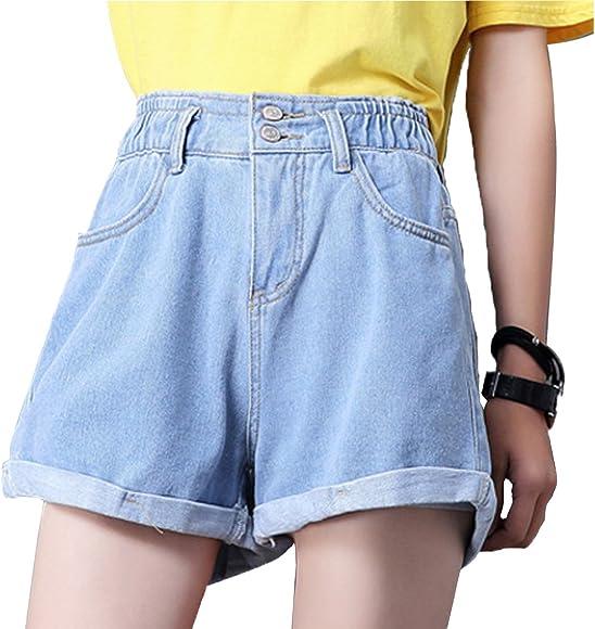 fa6f3a1f12 Weigou Woman Denim Shorts Loose High Waist Button Wide Leg Short Jeans  Elastic Waist Rolled Blue