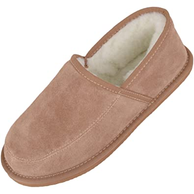 a78c2f6e7c6 SNUGRUGS Men s Suede Full Slipper with Wool Lining and Lightweight Sole -  Camel US 6