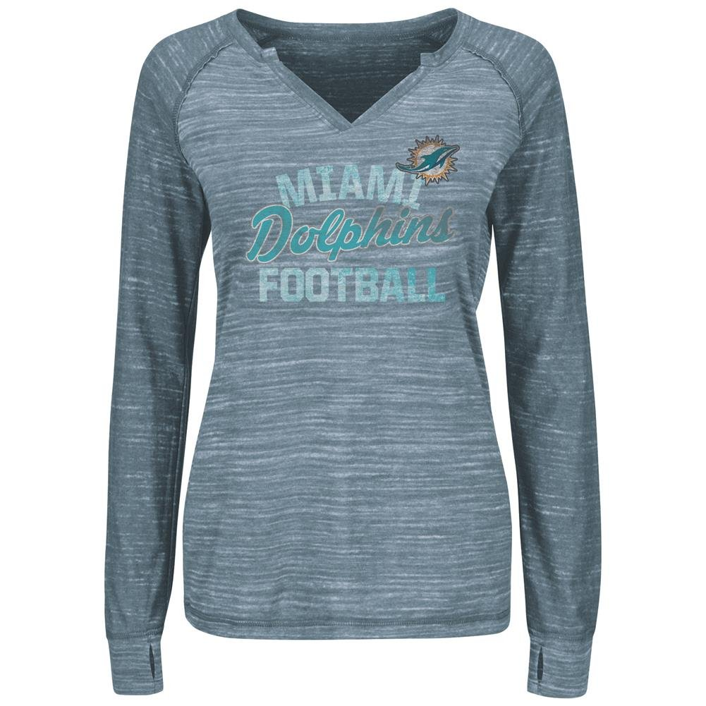 Miami Dolphins Women 's Lead Play Long Sleeve Split Neck Tシャツ Large  B01DF79TY2