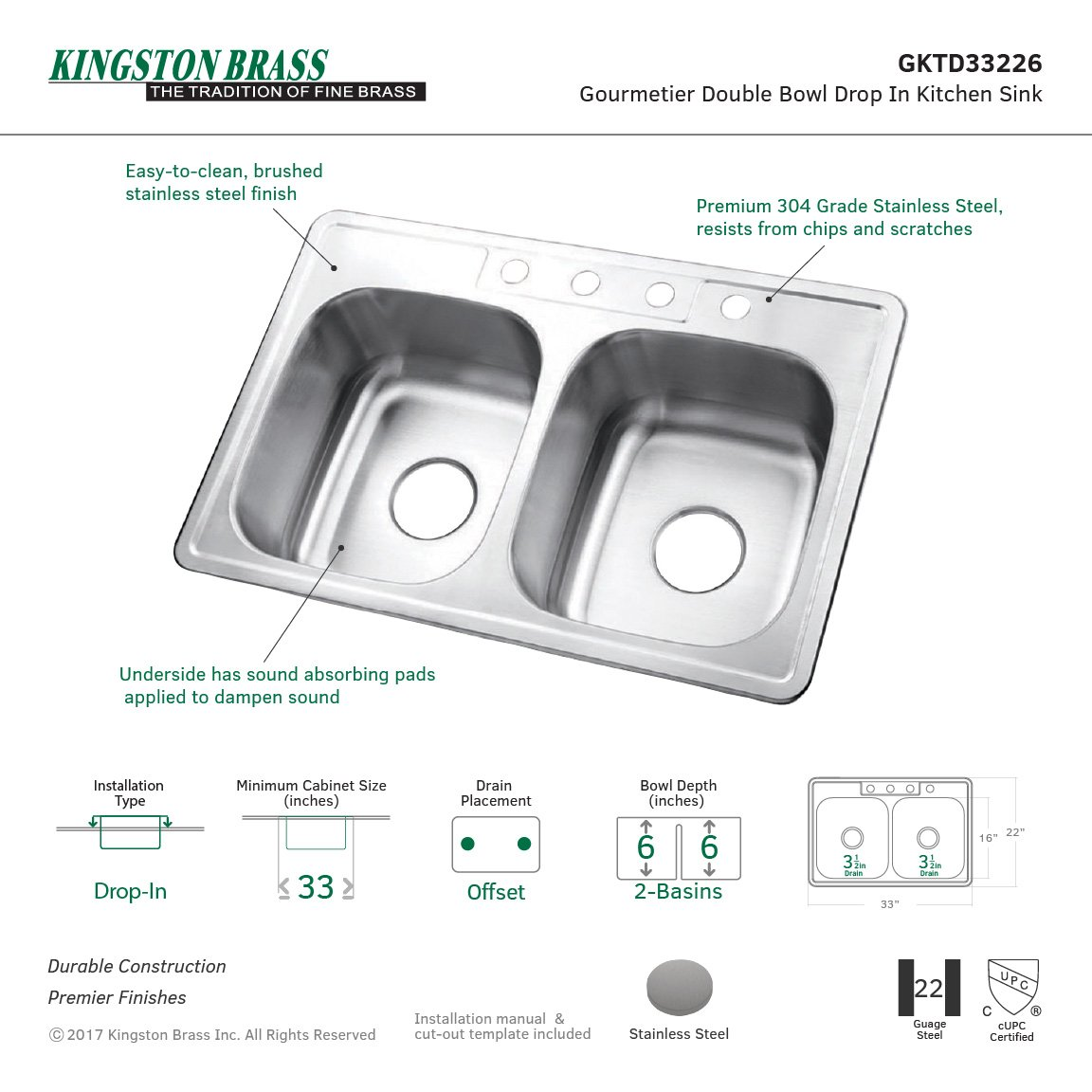 Kingston Brass Gourmetier GKTD33226  Studio Self-Rimming Double Bowl Kitchen Sink, 33-Inch L × 22-Inch W × 6-Inch H, Brushed Stainless Steel