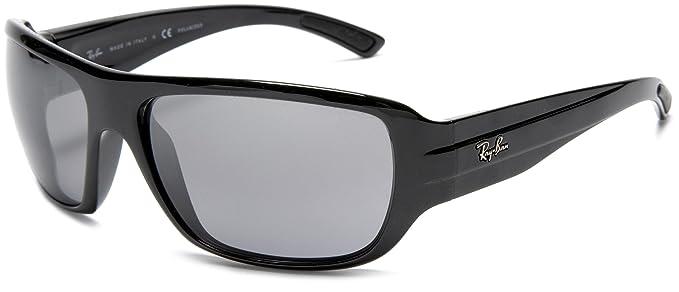 Ray-Ban - Gafas de sol polarizadas estilo envolvente, color negro, 64 mm: Amazon.es: Ropa y accesorios
