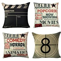 YOENYY Movie Theater Cinema Personalized Home Decor Design Throw Pillow Cover Pillow Case 18 x 18 Inch Cotton Linen for…