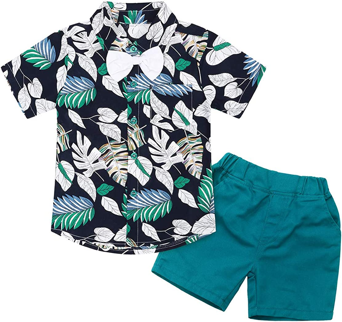 Cotrio Baby Boys Gentleman Outfits Toddler Wedding Birthday Party Two Pieces Short Sleeve Shirt Shorts Sets