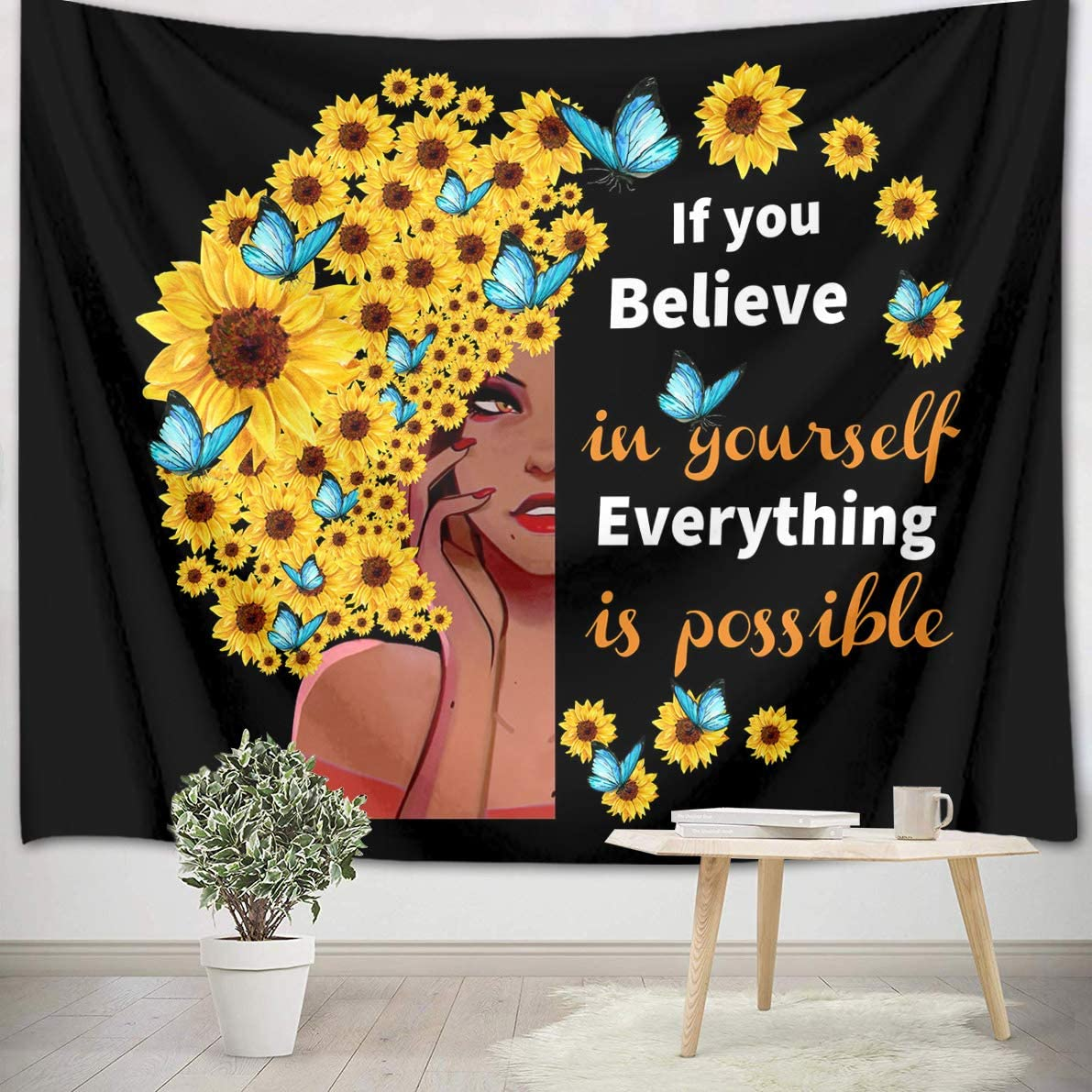 LB Black Girl Tapestry Sunflower Butterflies Afro Decoration African Women Tapestry with Inspirational Quote Funny Black Art Tapestry for Bedroom Living Dining Room Dorm Decor 93 Wx71 L