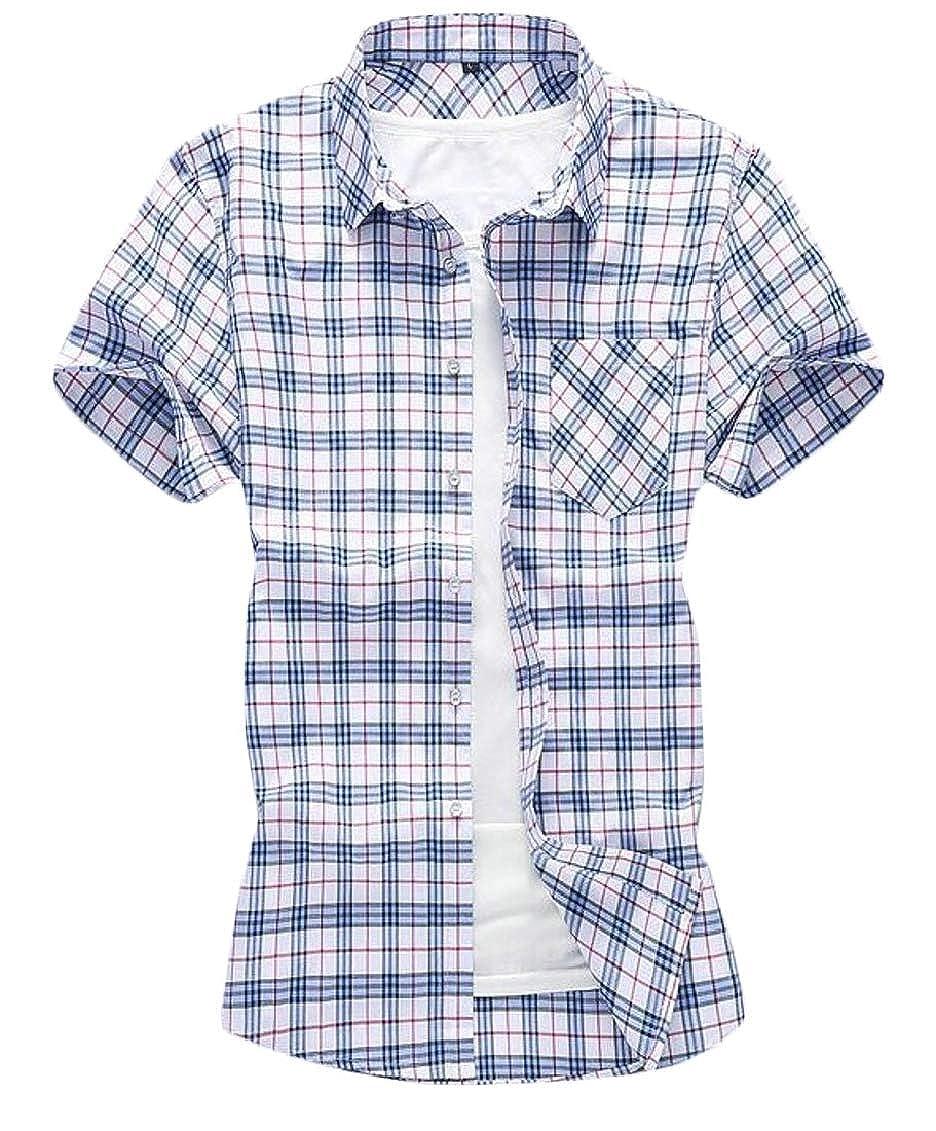 SHOWNO Mens Basic Chest Pocket Plaid Check Buttons Business Dress Shirts