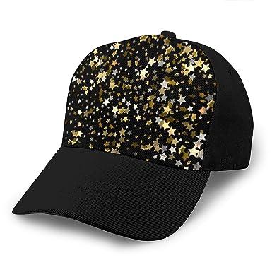 Wfispiy Gorra de béisbol Gold Sparkles On A Black Running Gorras ...