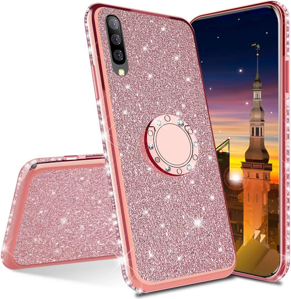 A30s Shock-Absorption Protective Shell Skin Cases Covers for Samsung Galaxy A50 GS Bling TPU Black MRSTER Samsung A50 Case Glitter Bling Bling TPU Case With 360 Rotating Ring Stand