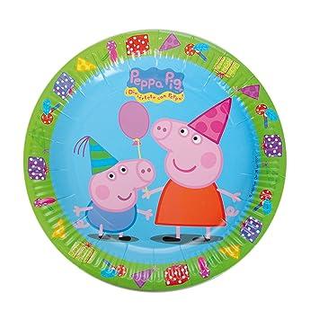 Peppa Pig 0523, Pack 8 Platos 23 cm, Producto de cartón, para Fiestas y cumpleaños