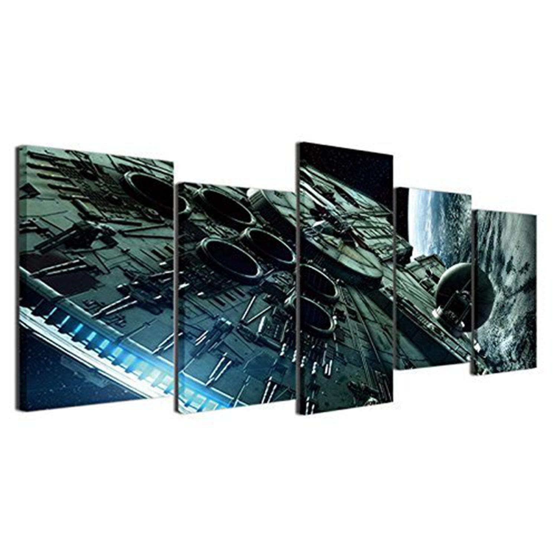JESC Home Decor Canvas Painting HD Prints Poster 5 Pieces Movie Paintings Living Room Wall Art Framework (with Wood Frame, 30cmx60cmx4 30cmx80cmx1 (12x24inx4,12x32inx1)) …