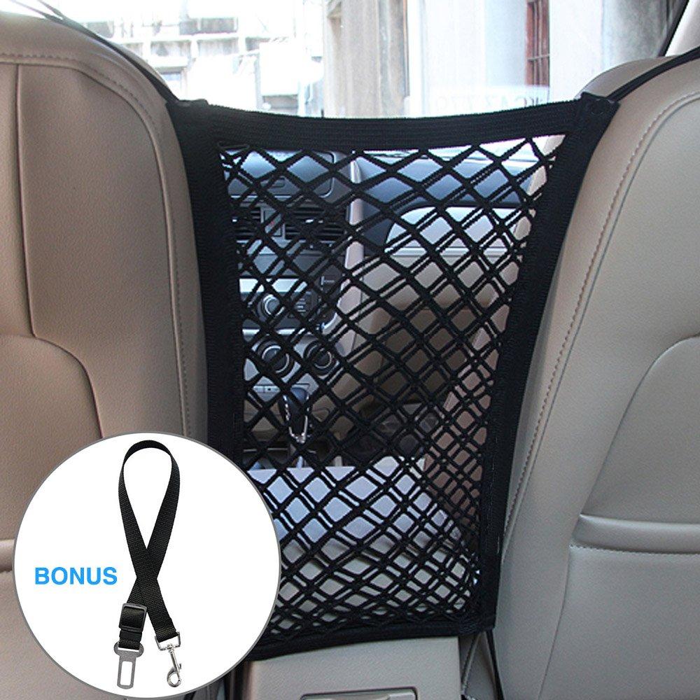 Lylyzoo Pet barrier Dog Car Net Barrier & Dog Car Seatbelt, Seat Mesh Obstacle Vehicle Travel Dog Backseat Barrier, Car Organizer