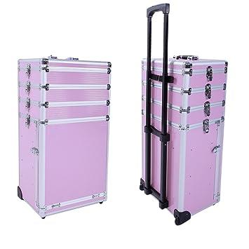 4 en 1 Pro aluminio maletín de funda de seguridad con llave de maquillaje tren caso
