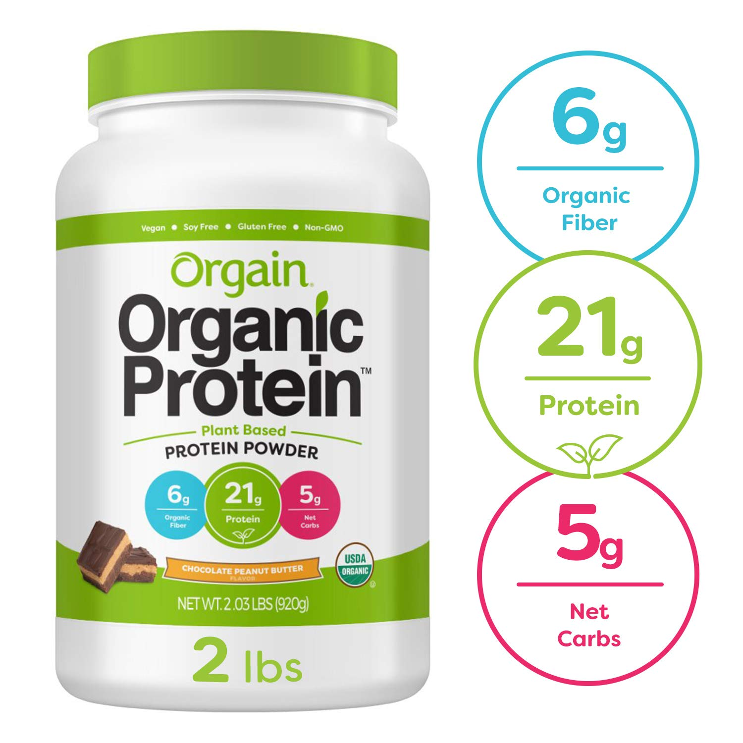 Orgain Organic Plant Based Protein Powder, Chocolate Peanut Butter - Vegan, Low Net Carbs, Non Dairy, Gluten Free, Lactose Free, No Sugar Added, Soy Free, Kosher, Non-GMO, 2.03 Pound by Orgain