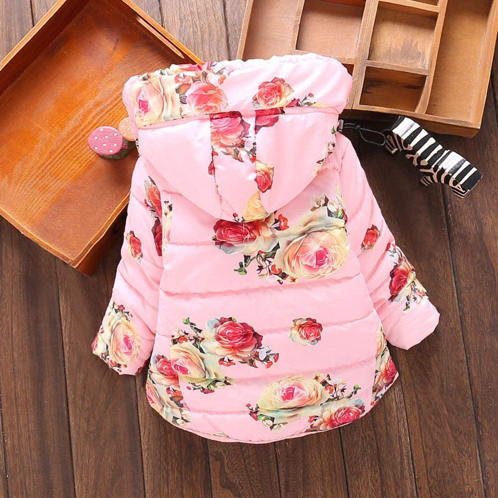 Willsa Baby Girls Jacket Toddler Baby Floral Print Winter Warm Hooded Windproof Jacket