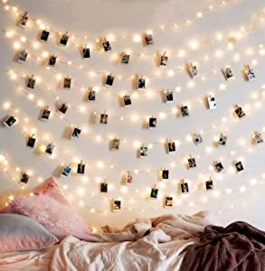 EZDC 50 LED Photo Clip String Lights, Bedroom Fairy Lights with Clips for Bedroom Decoration to Hang Card, Polaroids & Pictures