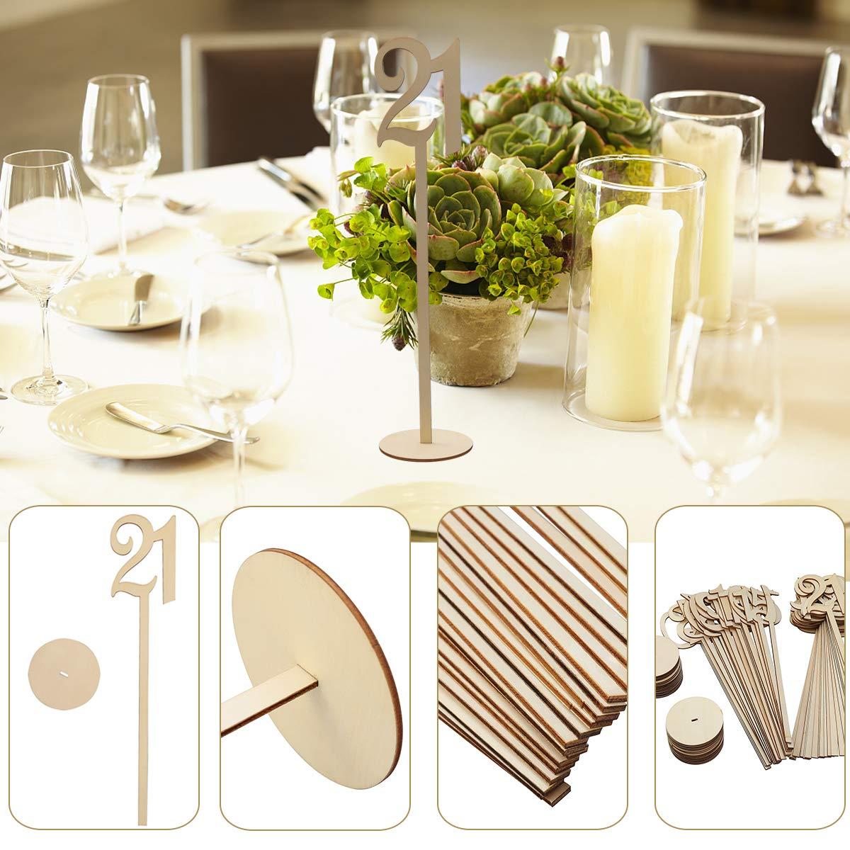 Pixnor Número de madera de mesa de boda palos con Base de 8 x 35cm 21-30: Amazon.es: Bricolaje y herramientas