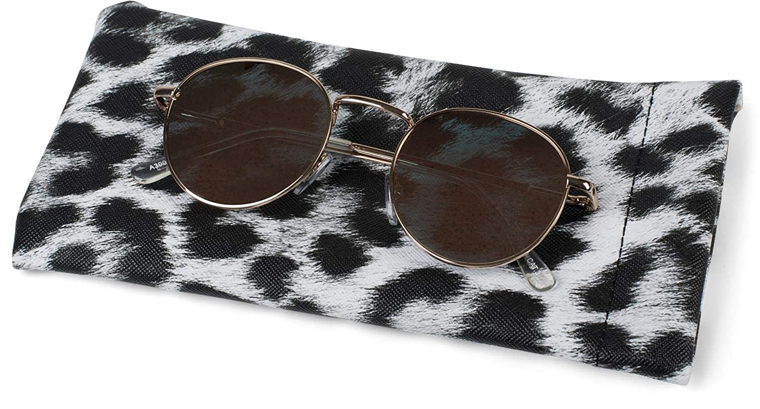 women 09020096 styleBREAKER sunglasses case with leopard print and cleaning cloth glasses pouch with snap fastening