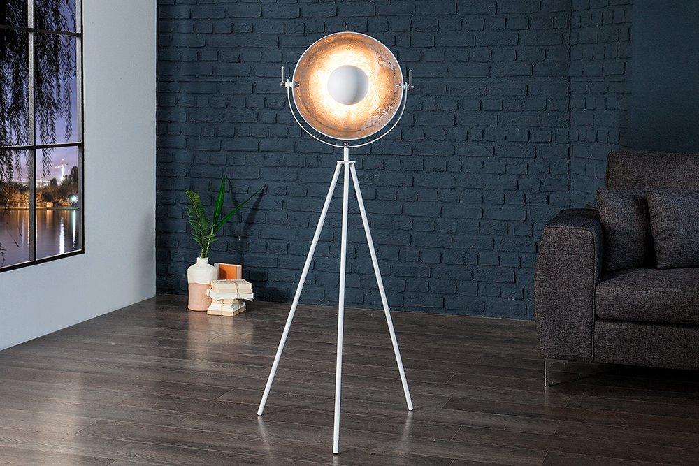 Moderne Design Stehlampe STUDIO 140 cm weiss silber Lampe ...