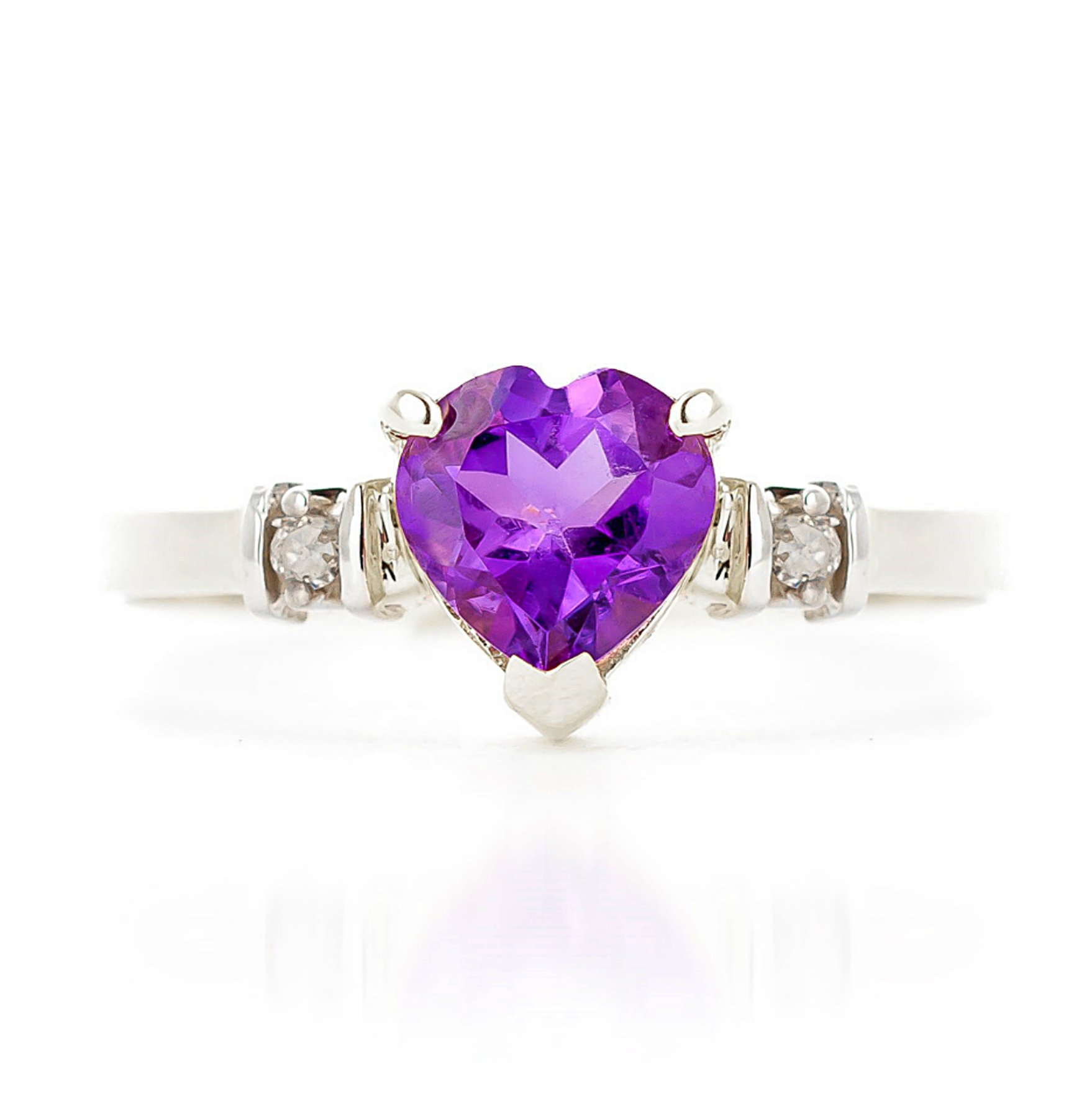 14k White Gold Ring with Genuine Diamonds and Natural Heart-shaped Purple Amethyst - Size 10.0 by Galaxy Gold (Image #4)