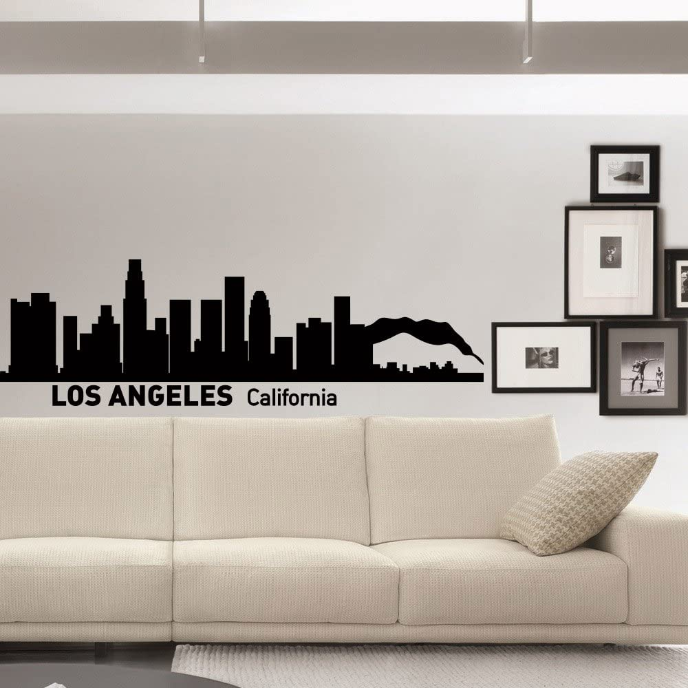 Amazon Com Wall Decals Vinyl Stickers Los Angeles Skyline Silhouette California City Wall Decal Removable Wall Art Home Decor For Living Room C007 Kitchen Dining