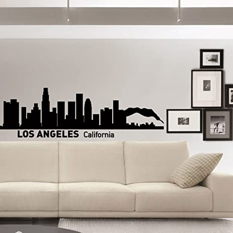 Wall decals vinyl stickers los angeles skyline silhouette california city wall decal removable wall art home