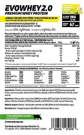 Whey Protein Concentrate de HSN Sports | Concentrado de Proteína de Suero Evowhey Protein 2.0 | Batido de Proteínas en Polvo, Vegetariano, Sin Gluten, ...