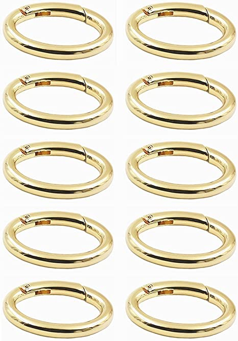 Amazon Com Weichuan 10pcs Spring Clip Round Carabiner 1 1 4 Gate O Ring Round Carabiner Snap Clip Trigger Spring Keyring Buckle Organizing Accessory Metal Secure Holder Durable And Rust Proof Gold Arts Crafts Sewing