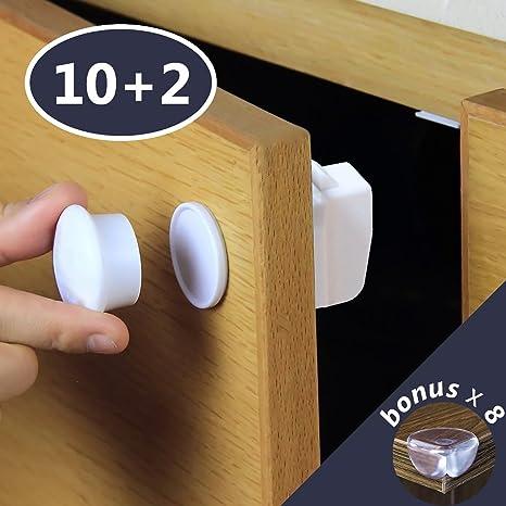 Invisible cierre de seguridad para niños – cerraduras de 10 + 2 llaves + 8 Bonus