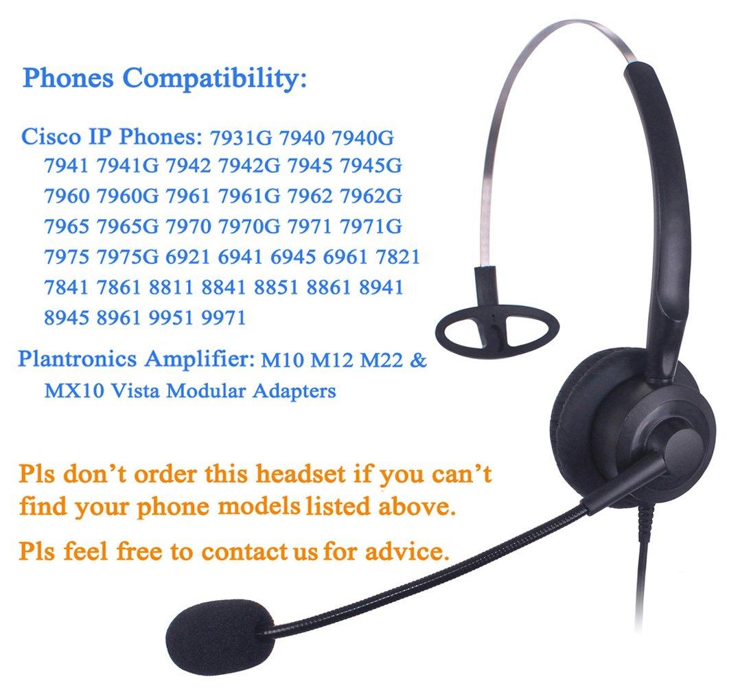 X20C1 Auricolare Call Center per Plantronics M10 M12 M22 MX10 Amplificatore o Cisco 7941 7945 7975 Xintronics Cuffie Telefono Fisso Binaurale RJ9 con Microfono a Cancellazione del Rumore