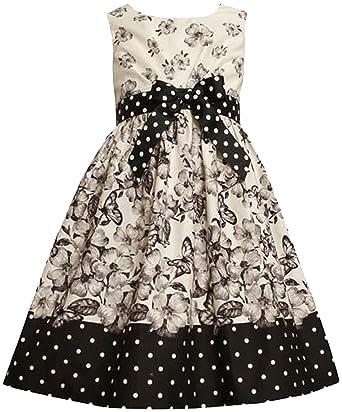 72fdfeb371e Bonnie Jean Little Girls 2T-6X Bow Front Radiator Pleat Floral Butterfly  Print Dress