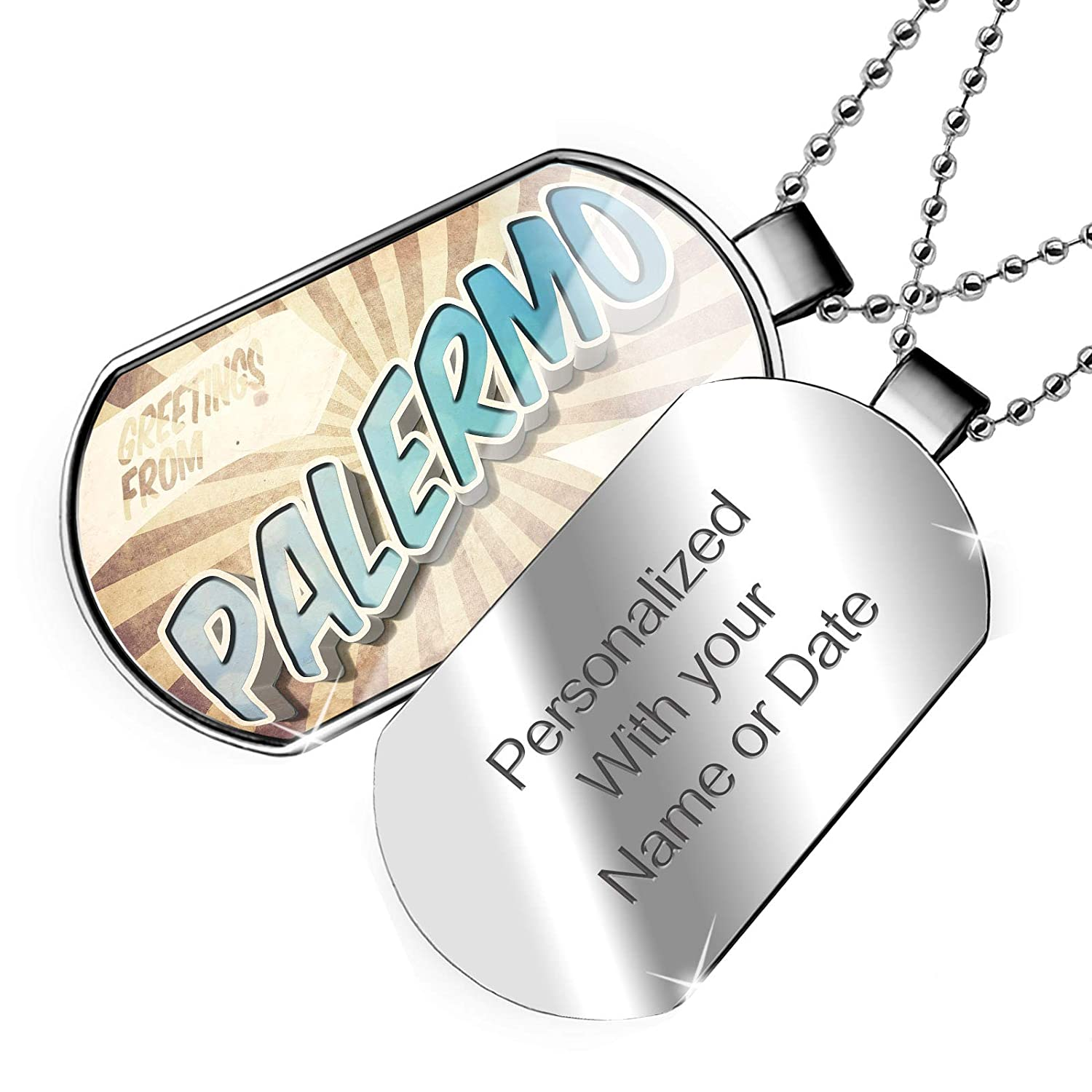 Vintage Postcard Dogtag Necklace NEONBLOND Personalized Name Engraved Greetings from Palermo